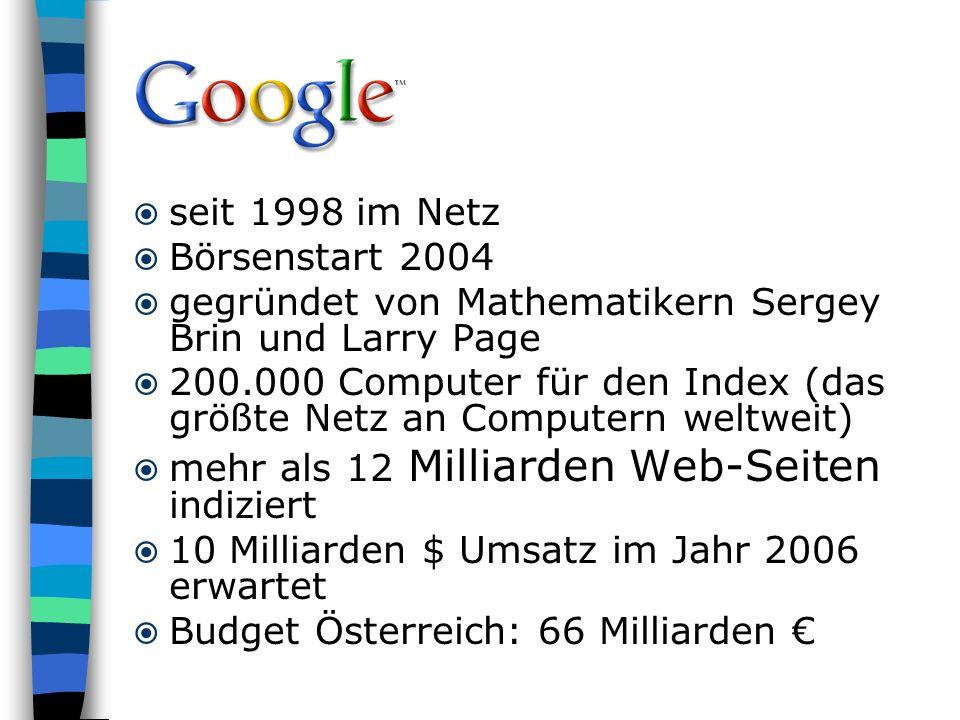 seit 1998 im Netz Börsenstart 2004. gegründet von Mathematikern Sergey Brin und Larry Page.