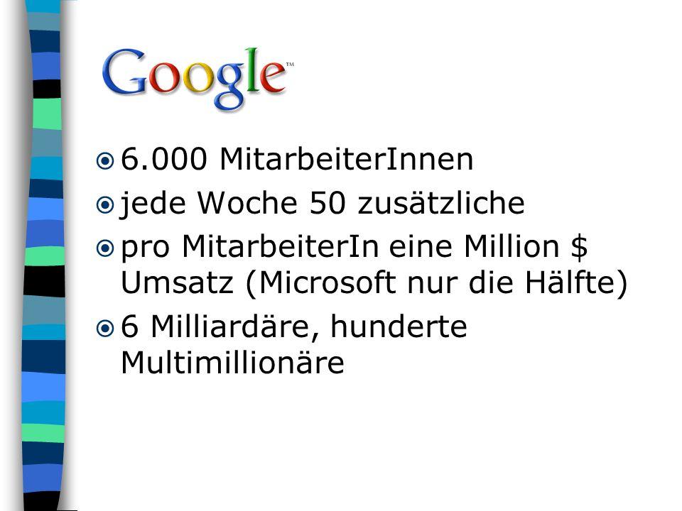 6.000 MitarbeiterInnen jede Woche 50 zusätzliche. pro MitarbeiterIn eine Million $ Umsatz (Microsoft nur die Hälfte)