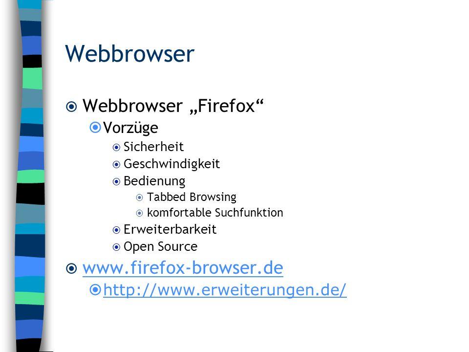"""Webbrowser Webbrowser """"Firefox www.firefox-browser.de Vorzüge"""