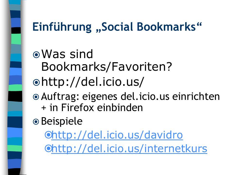 "Einführung ""Social Bookmarks"