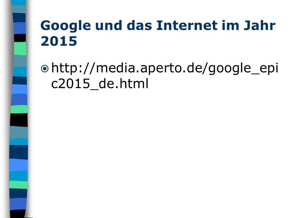 Google und das Internet im Jahr 2015