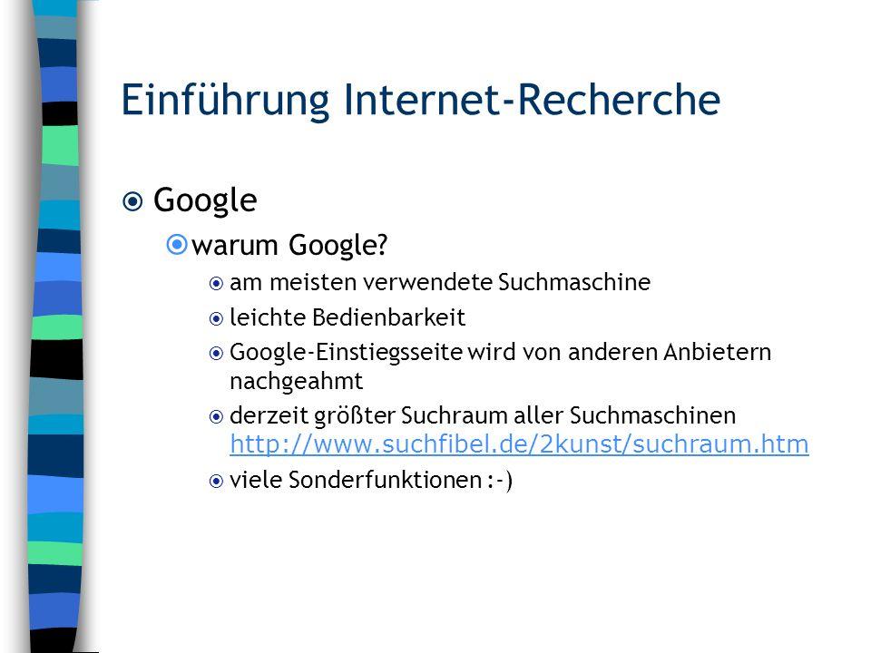 Einführung Internet-Recherche