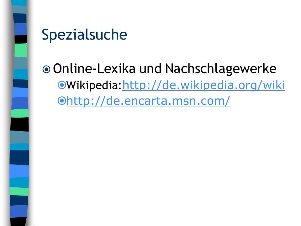 Spezialsuche Online-Lexika und Nachschlagewerke
