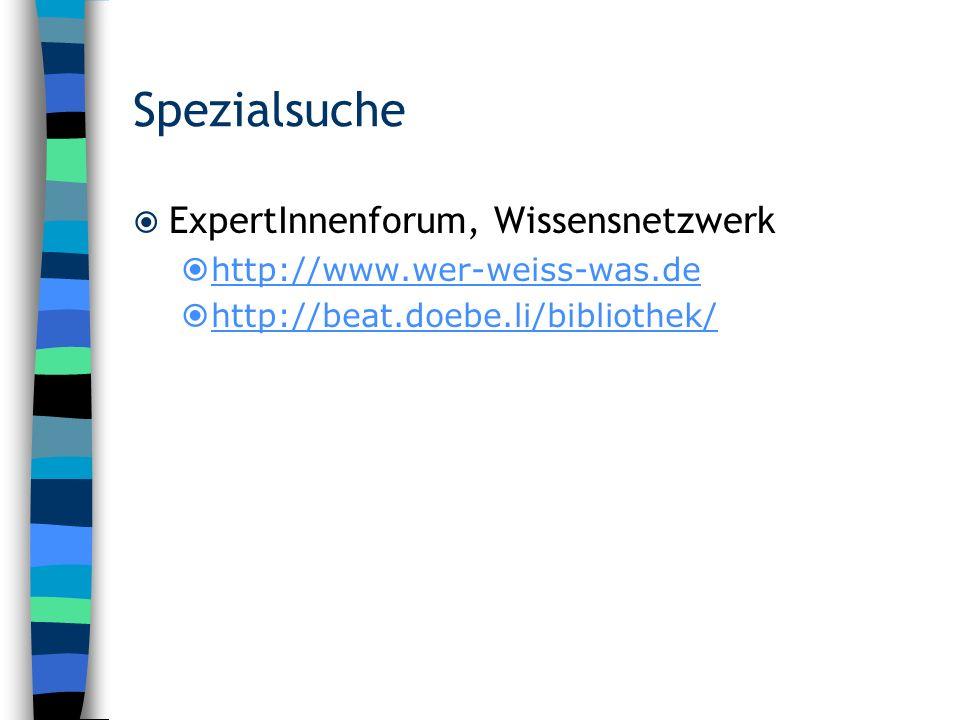 Spezialsuche ExpertInnenforum, Wissensnetzwerk