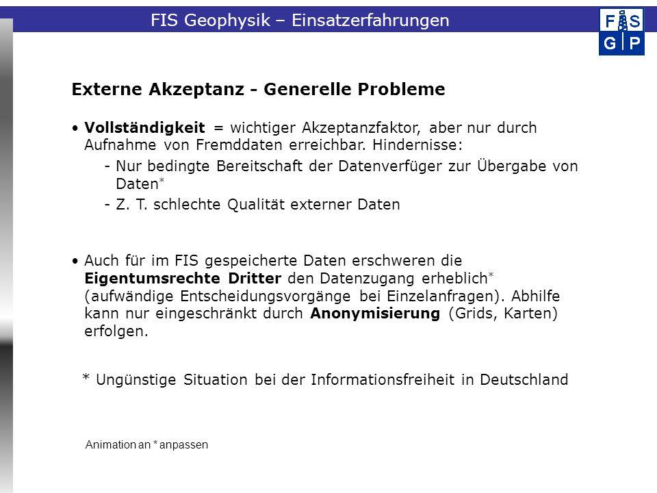 FIS Geophysik – Einsatzerfahrungen