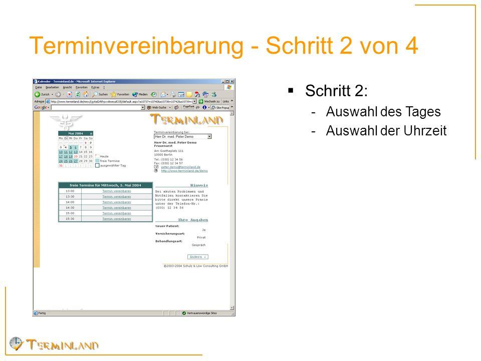 Terminvereinbarung - Schritt 2 von 4