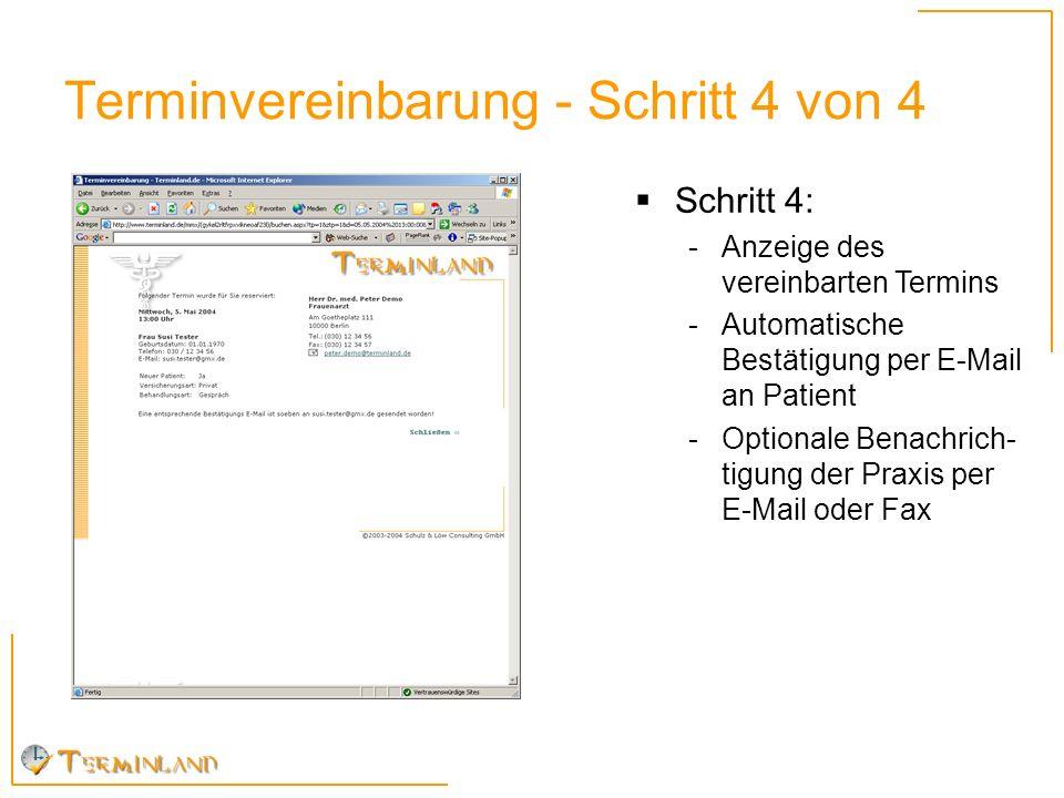 Terminvereinbarung - Schritt 4 von 4