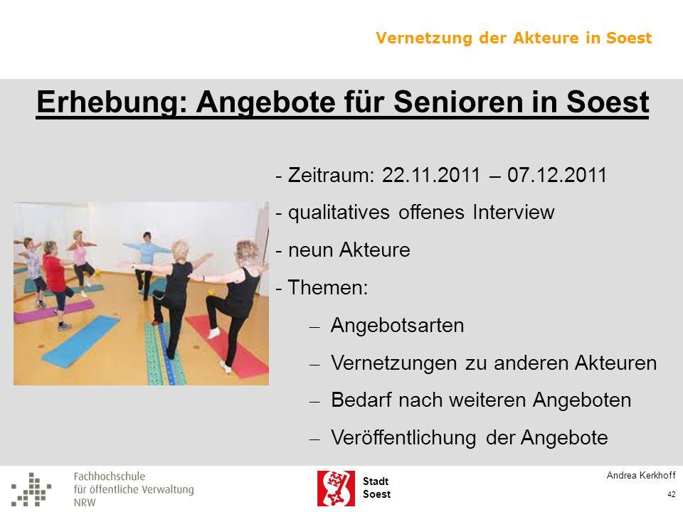 Erhebung: Angebote für Senioren in Soest