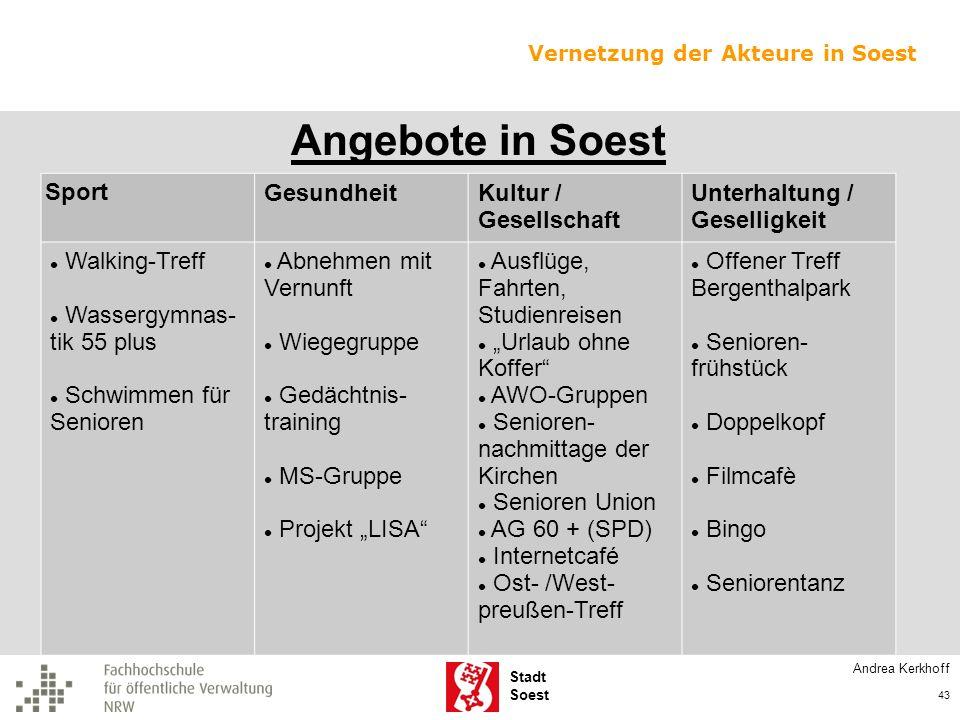 Angebote in Soest Sport Gesundheit Kultur / Gesellschaft