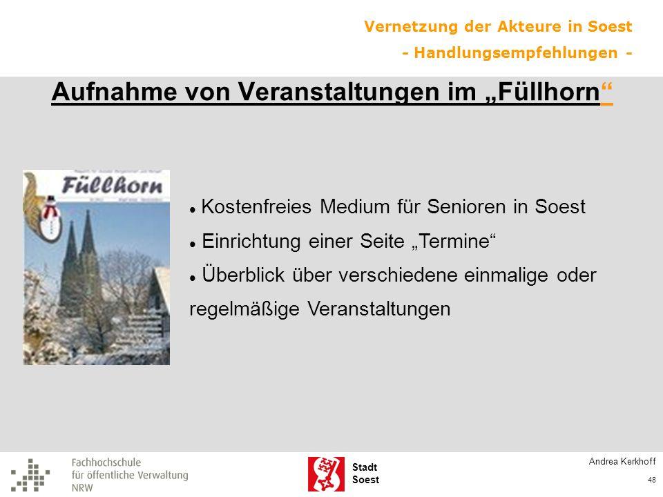 """Aufnahme von Veranstaltungen im """"Füllhorn"""
