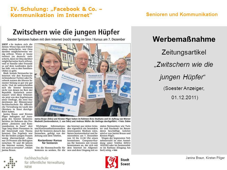 """Werbemaßnahme jungen Hüpfer Zeitungsartikel """"Zwitschern wie die"""