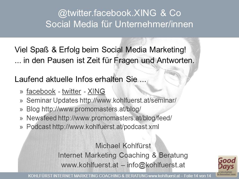 @twitter.facebook.XING & Co Social Media für Unternehmer/innen