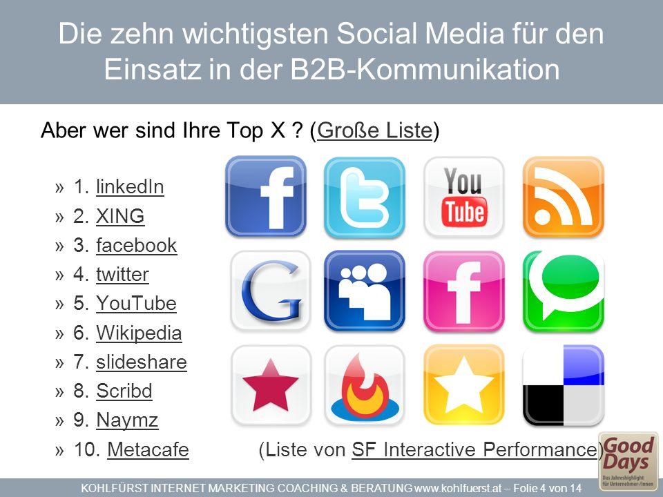 Die zehn wichtigsten Social Media für den Einsatz in der B2B-Kommunikation