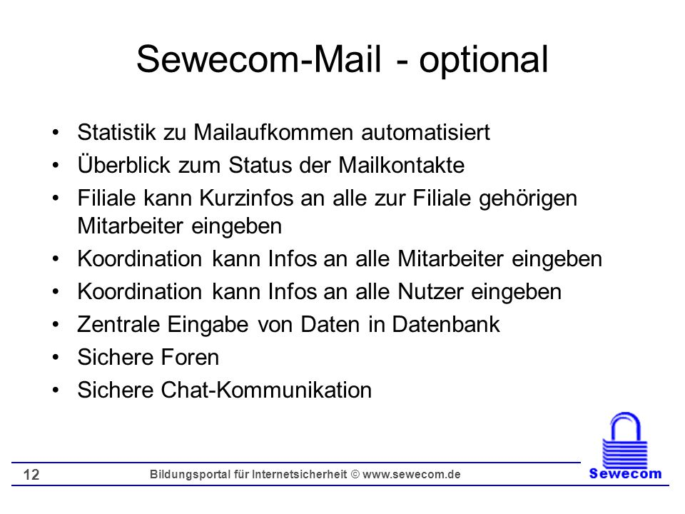Sewecom-Mail - optional