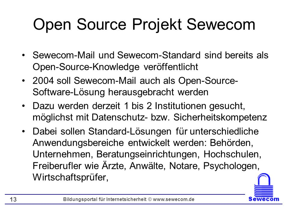 Open Source Projekt Sewecom