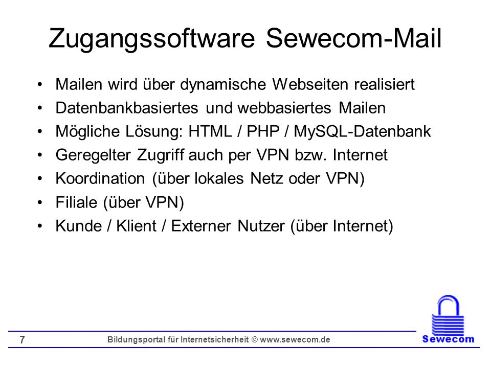 Zugangssoftware Sewecom-Mail