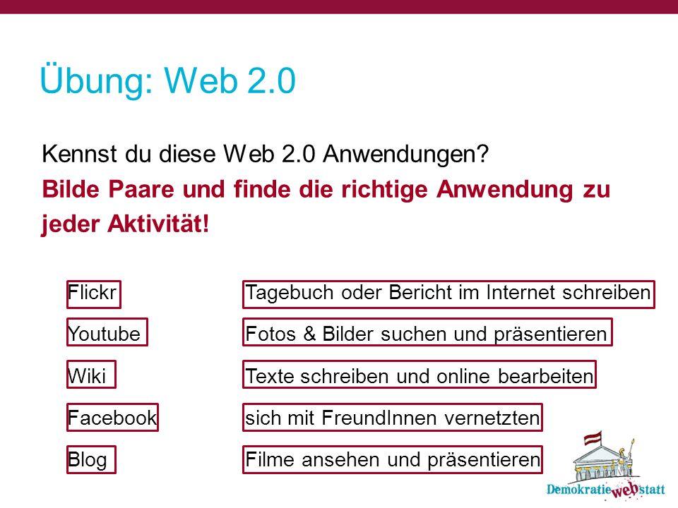 Übung: Web 2.0 Kennst du diese Web 2.0 Anwendungen