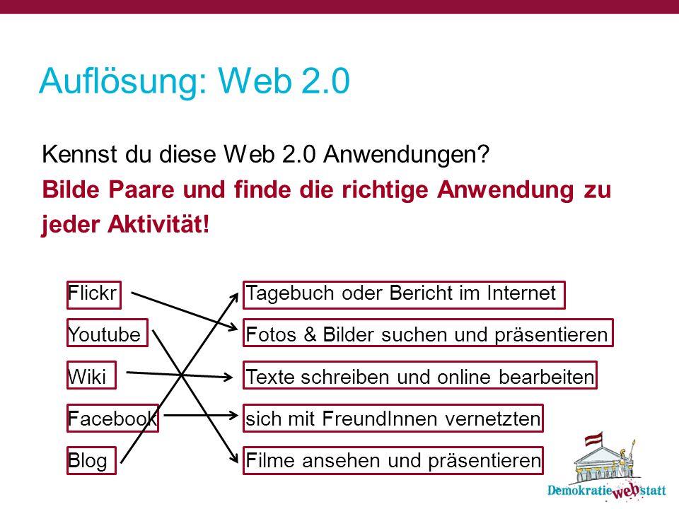 Auflösung: Web 2.0 Kennst du diese Web 2.0 Anwendungen