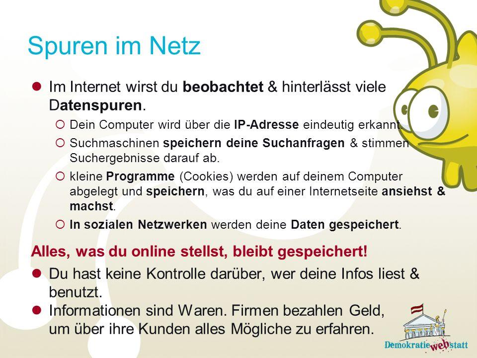 Spuren im Netz Im Internet wirst du beobachtet & hinterlässt viele Datenspuren. Dein Computer wird über die IP-Adresse eindeutig erkannt.