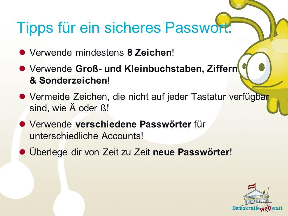 Tipps für ein sicheres Passwort: