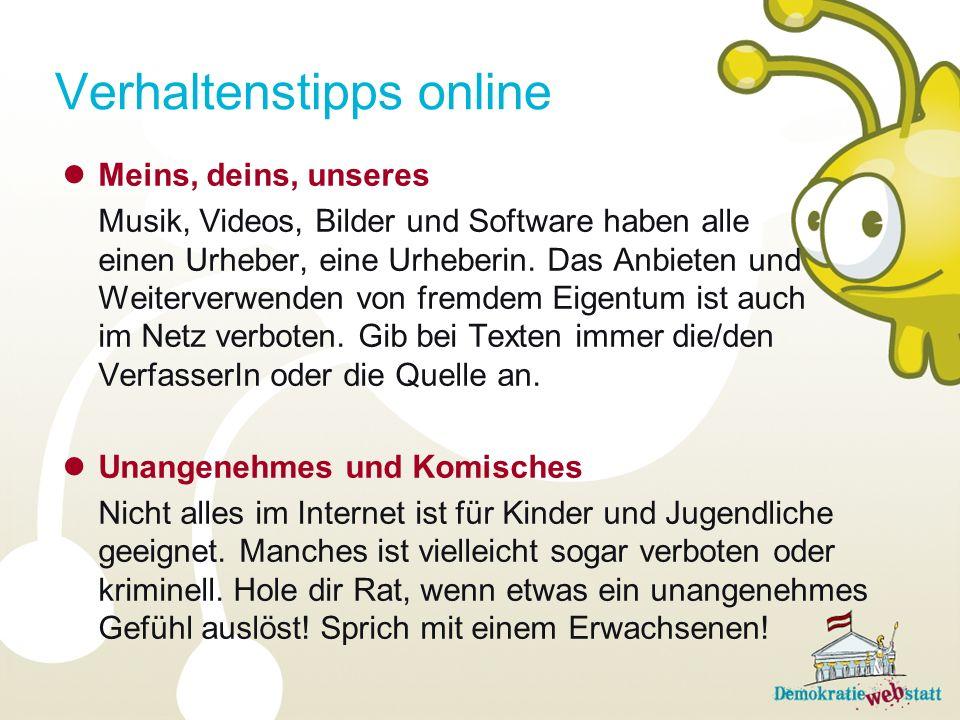 Verhaltenstipps online