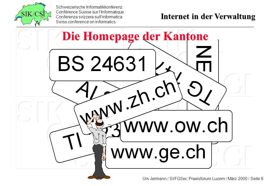 Die Homepage der Kantone