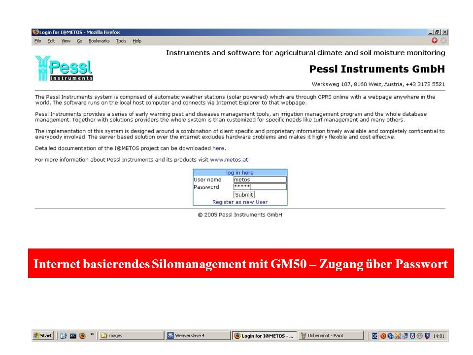 Internet basierendes Silomanagement mit GM50 – Zugang über Passwort