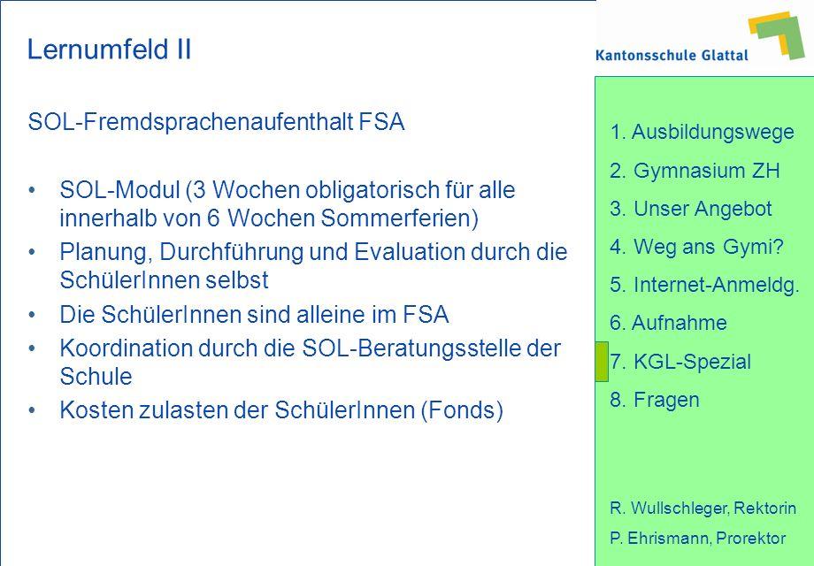 Lernumfeld II SOL-Fremdsprachenaufenthalt FSA