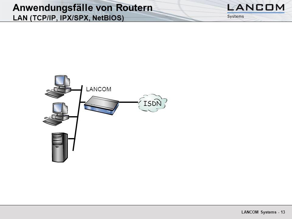 Anwendungsfälle von Routern LAN (TCP/IP, IPX/SPX, NetBIOS)