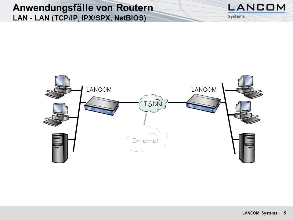 Anwendungsfälle von Routern LAN - LAN (TCP/IP, IPX/SPX, NetBIOS)