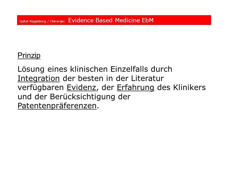 Spital Riggisberg / Chirurgie: Evidence Based Medicine EbM