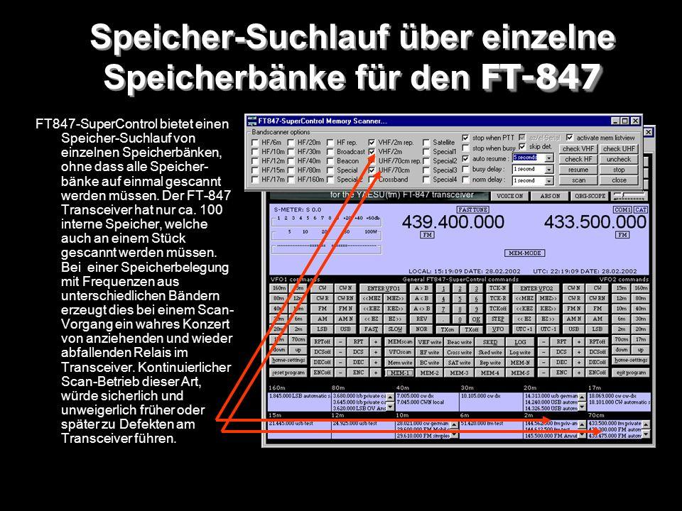 Speicher-Suchlauf über einzelne Speicherbänke für den FT-847