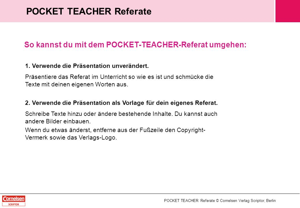 POCKET TEACHER Referate