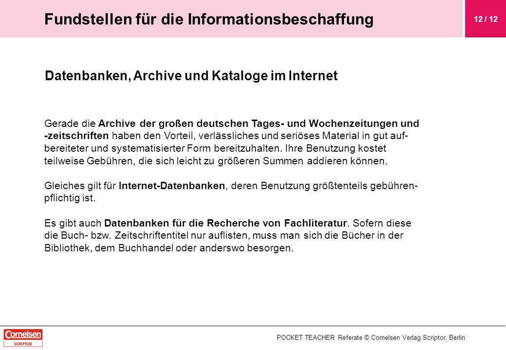 Fundstellen für die Informationsbeschaffung