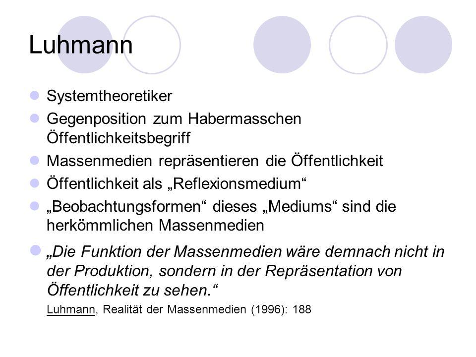 LuhmannSystemtheoretiker. Gegenposition zum Habermasschen Öffentlichkeitsbegriff. Massenmedien repräsentieren die Öffentlichkeit.