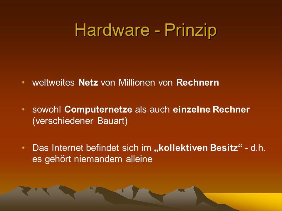 Hardware - Prinzip weltweites Netz von Millionen von Rechnern