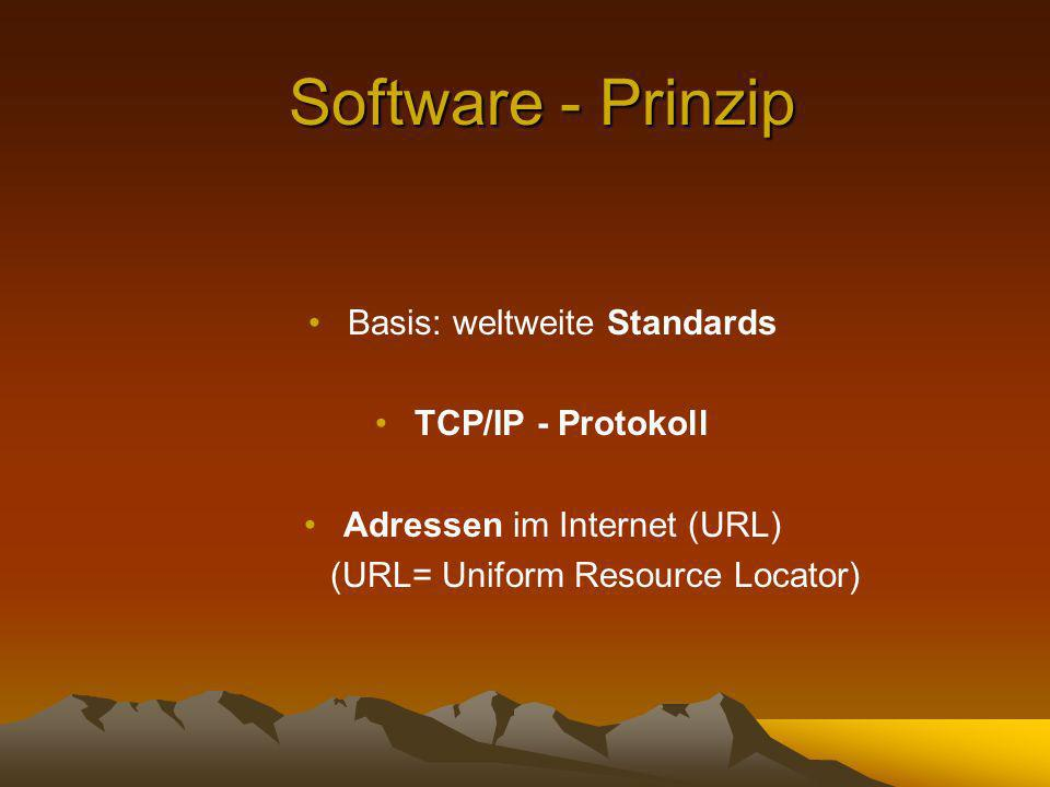 Software - Prinzip Basis: weltweite Standards TCP/IP - Protokoll