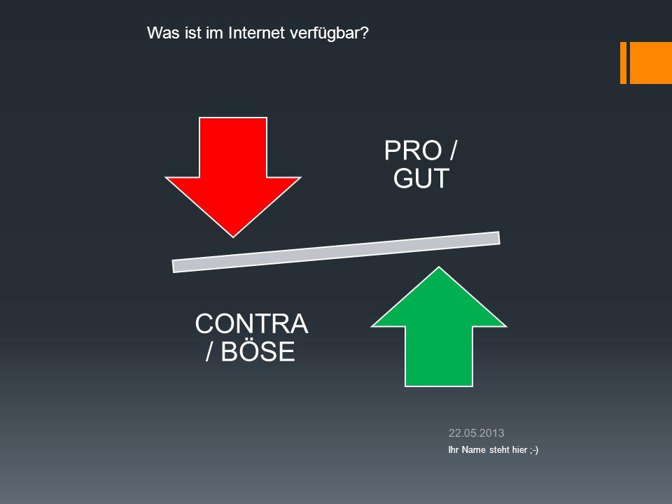 PRO / GUT CONTRA / BÖSE Was ist im Internet verfügbar 22.05.2013