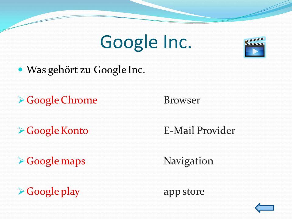 Google Inc. Was gehört zu Google Inc. Google Chrome Browser