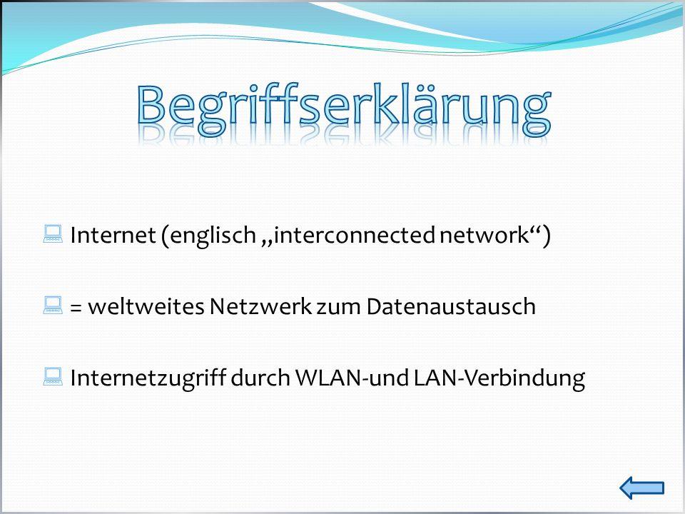 """Begriffserklärung Internet (englisch """"interconnected network )"""