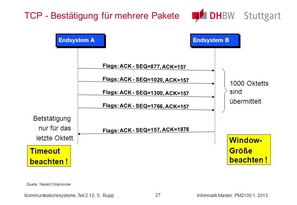 TCP - Bestätigung für mehrere Pakete