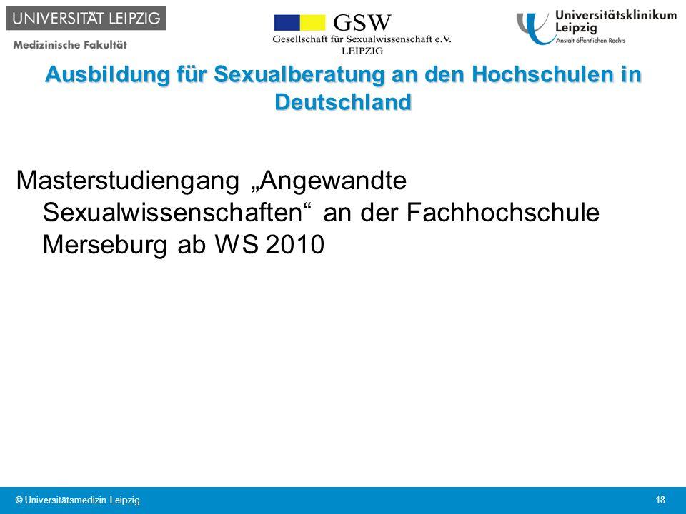 Ausbildung für Sexualberatung an den Hochschulen in Deutschland