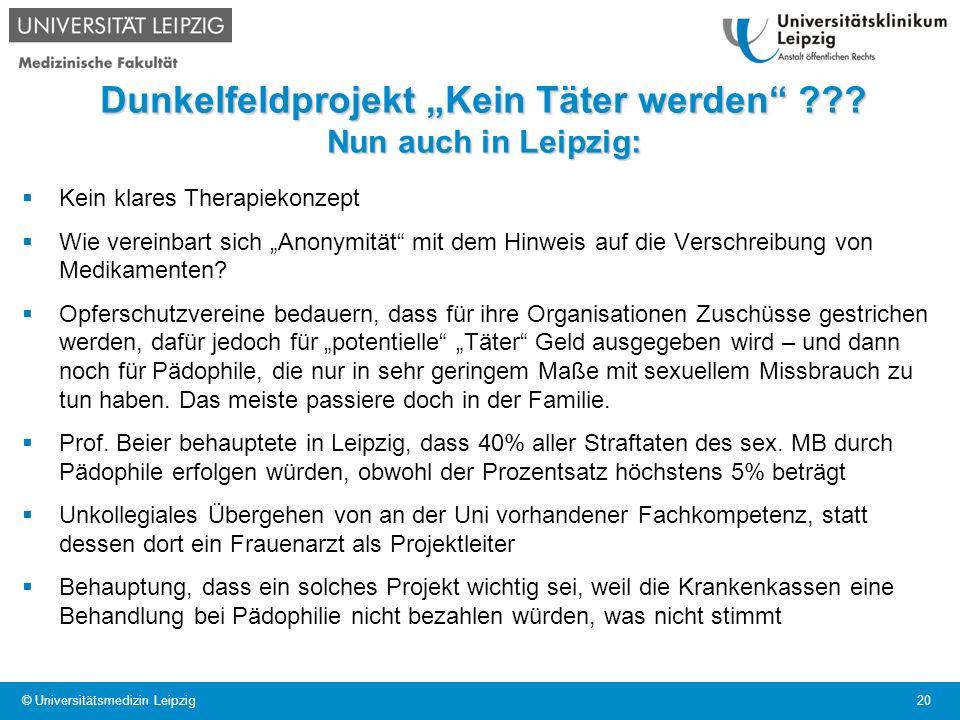 """Dunkelfeldprojekt """"Kein Täter werden Nun auch in Leipzig:"""