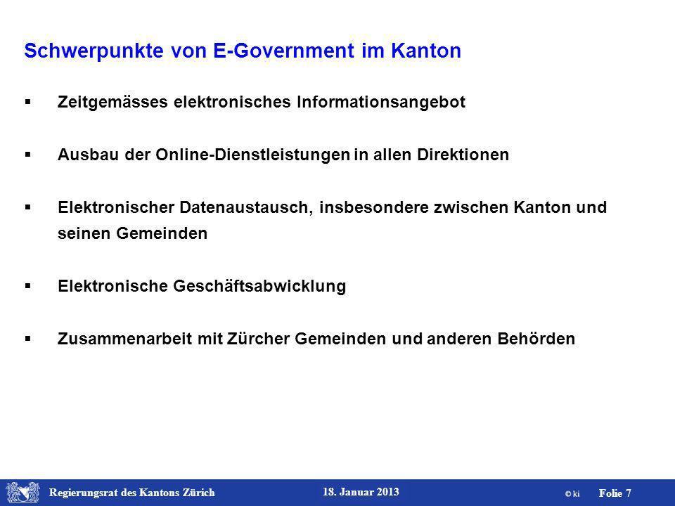 Schwerpunkte von E-Government im Kanton