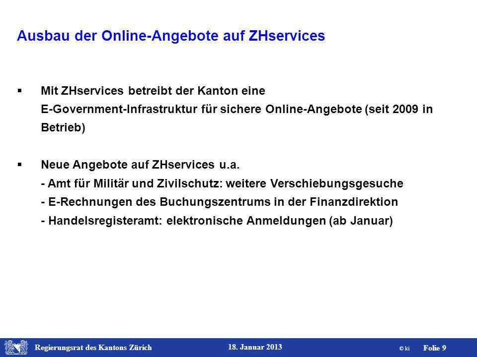 Ausbau der Online-Angebote auf ZHservices