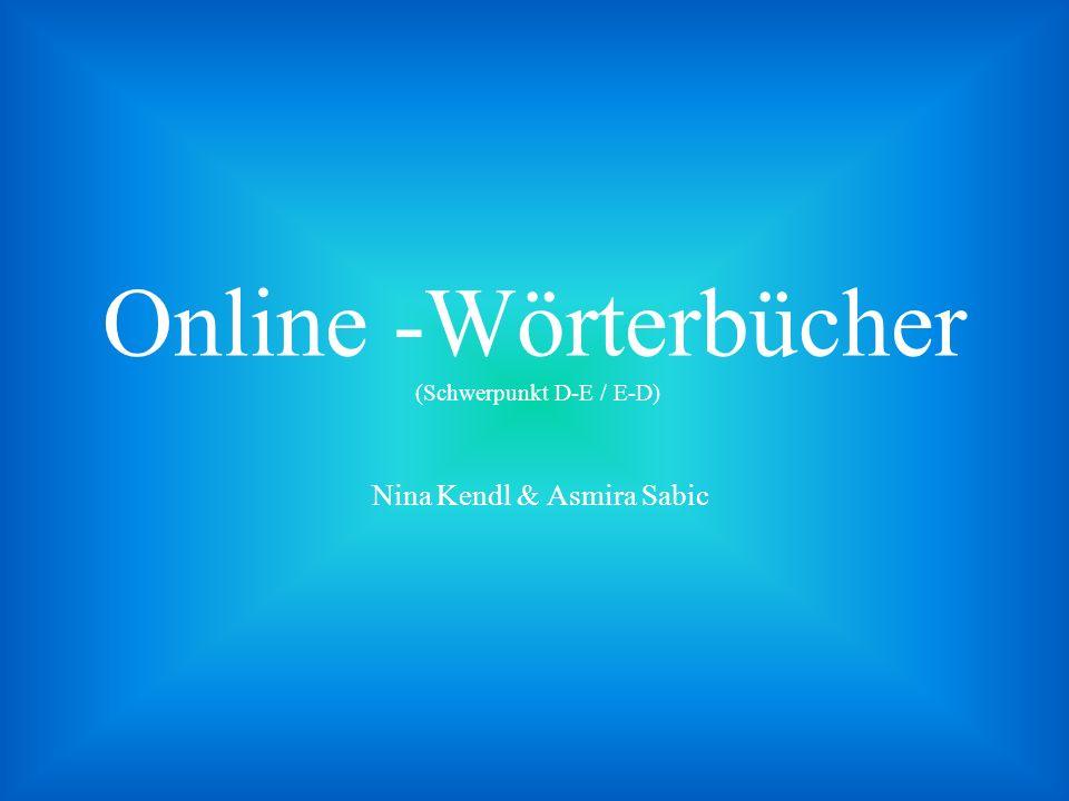 Online -Wörterbücher (Schwerpunkt D-E / E-D)