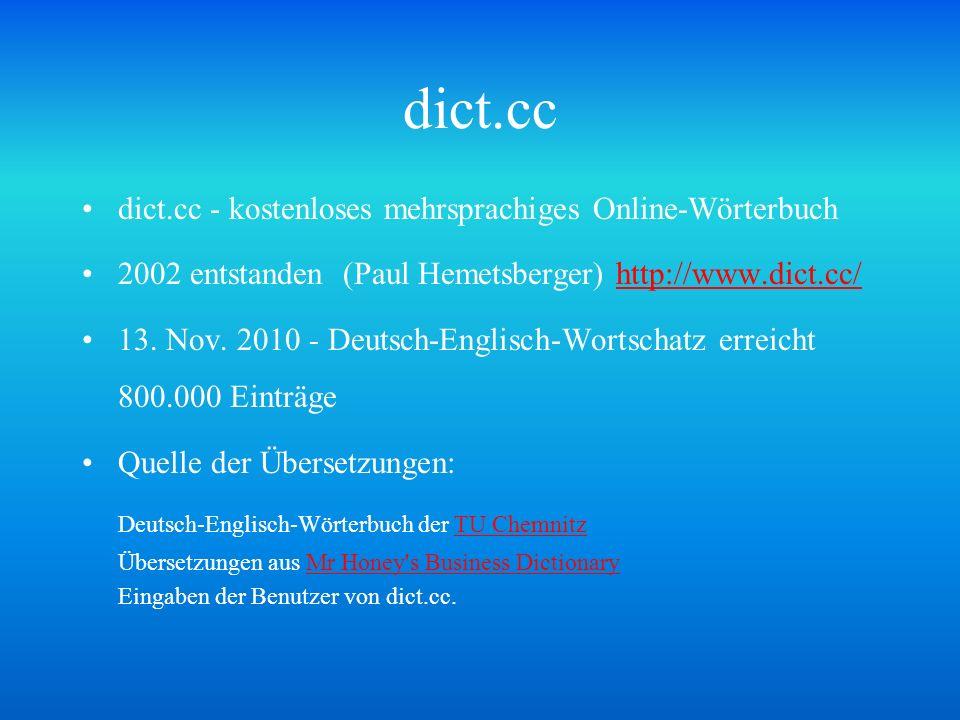 dict.cc Deutsch-Englisch-Wörterbuch der TU Chemnitz