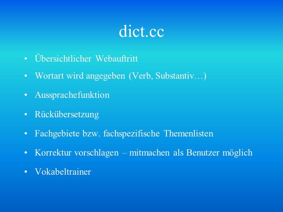 dict.cc Übersichtlicher Webauftritt