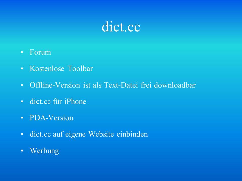 dict.cc Forum Kostenlose Toolbar