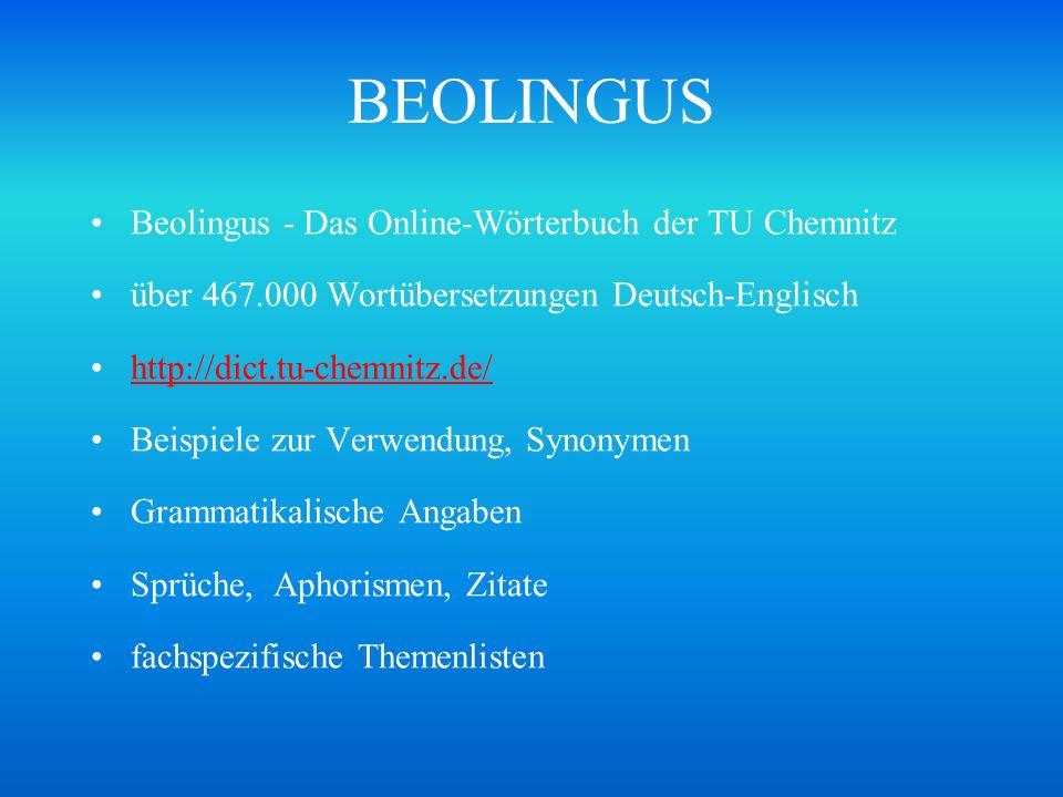 BEOLINGUS Beolingus - Das Online-Wörterbuch der TU Chemnitz